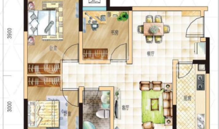 高新西区 成都合院二期 3室2厅1卫 81平米