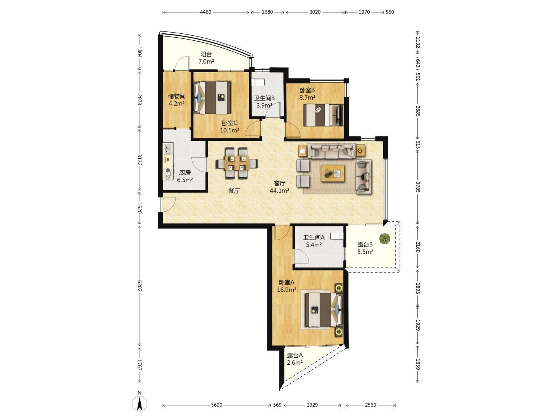天桥区无影山北精装3室2厅2卫二手房出售